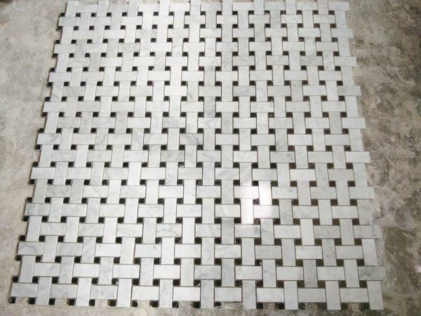Bianco Carrara Basketwave Marble Mosaci